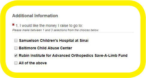 Screenshot showing to designate the funds you raise to benefit the Rubin Institute for Advanced Orthopedics Save-A-Limb Fund